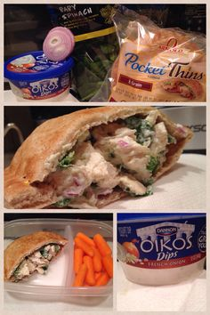Definitely one of my most satisfying healthy alternatives! This chicken salad pita is low in calories and in points for all the WW members! No mayo necessary.   1 piece chicken breast (5 points) Chopped red onion (0 points)  Chopped Spinach (0 points)  2 tbsp of Greek French Onion Dip by Oikos (1 point)  1/2 8 Grain Pocket Thin by Arnold (3 points)   Grand Total of 9 points at 257 Calories.   34 grams of protein! Enjoy :) Ww Recipes, Turkey Recipes, Clean Recipes, Healthy Recipes, French Onion Dip, Onion Soup Mix, Chopped Spinach, Beautiful Body, Healthy Alternatives