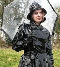 Black PVC Raincoat & Hat