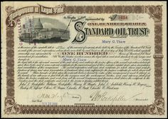 STANDARD OIL TRUST STOCK CERTIFICATE certificate issued for 100 shares 1898