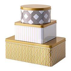 IKEA - VINTERKUL, Boîte avec couvercle, lot de 3, Convient pour les gâteaux, les biscuits et autres aliments secs.Les petits modèles s'emboîtent dans les plus grands pour libérer de l'espace.
