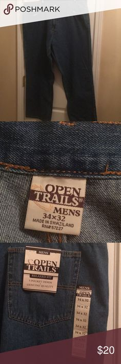 Open trails men's jeans NWT 34/32 loose fit Open trails men's jeans NWT 34/32 loose fit RUN  VERY BIG length is true Open Trails Jeans Relaxed