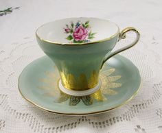 Green Aynsley Tea Cup with Pink Rose, Corset Shape, Vintage Bone China, Teacup and Saucer Tea Cup Set, Tea Cup Saucer, Antique China, Vintage China, Tea Holder, Antique Tea Sets, Green Tea Cups, Tea Cart, Vintage Teacups