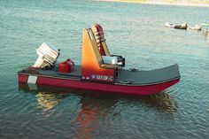 """Scooter known as """"Leaner"""" Mini Pontoon Boats, Kayak Boats, Fishing Boats, Shallow Water Boats, Classic Wooden Boats, Boat Projects, Wooden Boat Plans, Diy Boat, Cool Boats"""