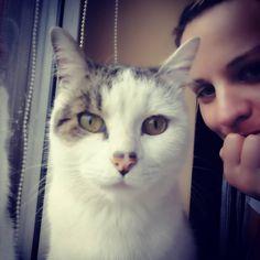 Selfie z Georgem Selfie with my Cat George  #selfie #blondehair #blonde #blondegirl #cat #domesticcat #kitty #kot #kici #mycat #purrfect