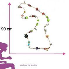 collier sautoir multicolore artisanal- pièce unique -