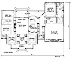 First Floor Plan of The Lewisville - House Plan Number 912-THIS HAS REAL-POSSIBILITIES-W/REMODIF./