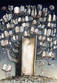 Árbol de los libros: buena cosecha la de 2017 (ilustración de Rainer Ehrt)