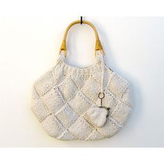 white tote bag knitted in cotton with rattan handles by branda found on Polyvore