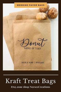 Add a special touch to your rustic wedding reception with our cute treat bags! Kraft or white favor bags are perfect for any event involving donuts! Wedding Favor Bags, Wedding Favors For Guests, Cute Donuts, Princess Cakes, Rustic Wedding Reception, Kids Party Games, Party Treats, Wax Paper, Handmade Products