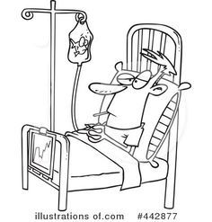 Cartoon Clipart Of A Black And White Sick Man With Thermometer In Clipart Free Clipart