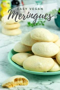 Have you tried making vegan meringues using aquafaba yet? Don't panic! Aquafaba isn't a weird ingredient. It's just the liquid you'd normally toss when you drain a can of beans. You can whip it up, like egg whites, to make crisp, perfect vegan meringue cookies! Vegan Meringue, Meringue Cookies, Vegan Dishes, Vegan Desserts, Aquafaba Recipes, Easter Cookie Recipes, Vegan Egg Replacement, Homemade Beans, Homemade Tahini