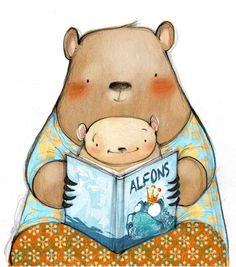 by Nuria Feijoo Tatty Teddy, Children's Book Illustration, Illustrations, Painting For Kids, Drawing For Kids, Kids Story Books, Christmas Drawing, Animal Books, Reading Art