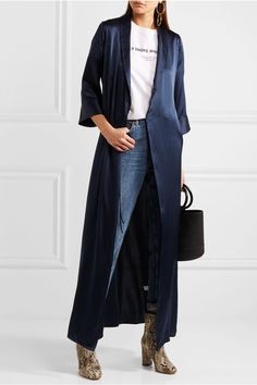 EXCLUSIVE AT NET-A-PORTER.COM. Reformation's maxi dress is cut from fluid silk that languidly skims over your figure. This robe-inspired piece is cut in an effortless wrap silhouette and fastens with waist ties. Complement the rich navy hue with gold jewelry.