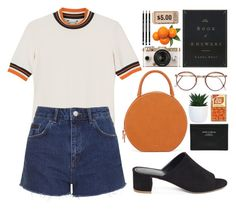 """""""You want in but you just can't win so you hang in the lights."""" by astoriachung ❤ liked on Polyvore featuring Monki, Mansur Gavriel, Urban Outfitters, Topshop, Acne Studios, retro, mules and summer2016"""