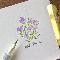 자동 대체 텍스트를 사용할 수 없습니다. Watercolor Projects, Watercolour Tutorials, Watercolor Cards, Watercolour Painting, Watercolor Flowers, Doodle Paint, Mini Canvas Art, Graffiti Painting, Colorful Drawings