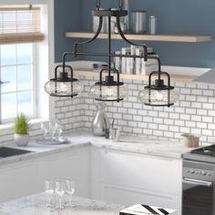 Beachcrest Home Lavalle Kitchen Island Pendant - All For Decoration Diy Interior, Interior Design, Home Decor Kitchen, New Kitchen, Kitchen Ideas, Decorating Kitchen, Awesome Kitchen, Kitchen Modern, Glass Kitchen