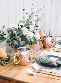 Copper mugs and herbal sprigs @myweddingdotcom