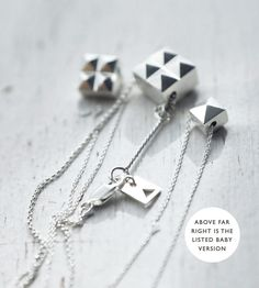 Baby Spiky twoface cube solid silver necklace by Minicyn on Etsy, €82.00