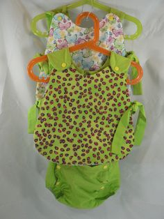 6-9 months Reversible apron dress, sundress, pinafore w/tie sides in ladybugs and butterfly w/ Green snap closure bloomers - pinned by pin4etsy.com