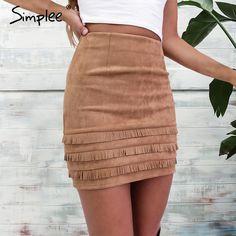 Simplee Retro tassel suede leather pencil skirt Autumn high waist slim mini women skirt Casual winter 2016 bodycon short skirts