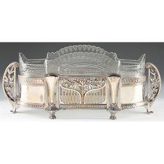 WMF Art Nouveau silver plate flower dish  Leland Little
