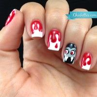 Bloody Dracula Nails for Halloween
