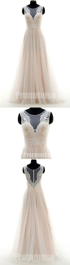Elegant Tulle Lace Formal Online Cheap Wedding Long Prom Dresses, PM0792 #promdress
