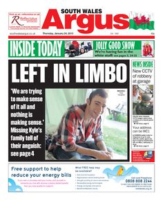 @southwalesargus front page 24.01.13 - Missing Kyle Vaughan's family 'in limbo'