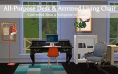 Another conversion, 4t2. The All-Purpose Desk and Arrrrrmed Living Chair (with lots of r's, I didn't count). They come with all original recolors and as usual, should be basegame but the chair may...