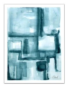 Large blue gray watercolor modern TitledL 'One Place to Another' abstract by VictoriaKloch,