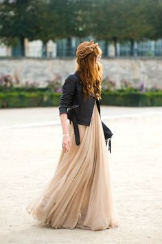black leather jacket + floor length chiffon gown