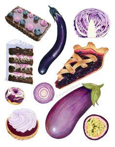 Purple Foods Chart // Food Illustration // Archival Quality Print, Wall art by KendyllHillegas