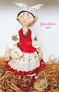 Купить Солоха - коралловый, солоха, украинский костюм, народный стиль, подарок, куклы ручной работы