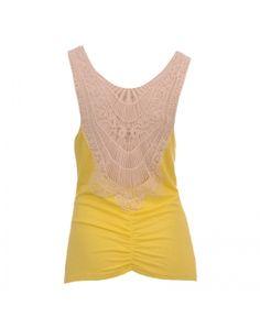 Κίτρινη μπλούζα με κιπούρ δαντέλα στην πλάτη.