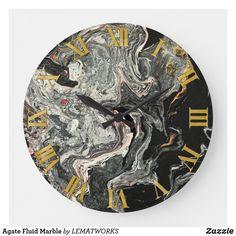 Agate Fluid Marble Large Clock