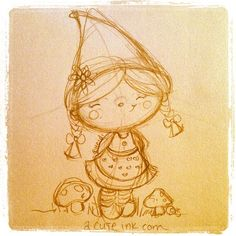 Girl+Gnome+Drawing | Cute Little Girl Gnome Sketch