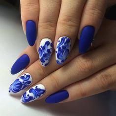 3d nails, Blue matte nails, Bright- blue nails, Dimension nails, Oval nails, Spring nail art, Spring nails 2017, Two color nails