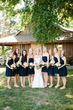 mix and match navy bridesmaid dresses | Tucker Images