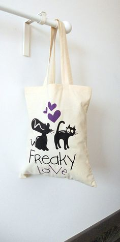 Hey, I found this really awesome Etsy listing at https://www.etsy.com/listing/207506528/freaky-love-handmade-tote-bagblack-cats
