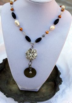 Vintage Rhinestone Baroque Pearl and Onyx Necklace with a Whimsical old brass Dog Tag Centerpiece.