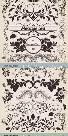 Set of vector Ornate flourish elements, such as floral frames, swirls, dividers and corners for your vintage designs.