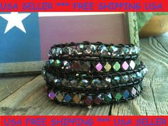 Leather Wrap Bracelet Faceted Swarovski Crystals by ShamballaStyle, $17.50