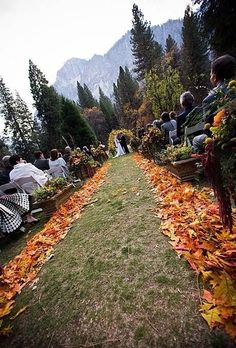 Love the borders to the aisle, but would have more than just one color leaf. Throw in reds and gold, too.  #wedding #aisle