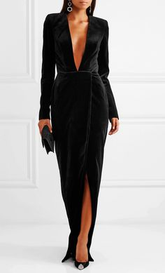 Rihanna, Bella Hadid and Kendall Jenner are all fans of Alexandre Vauthier's sultry and elegant dresses. Made from a lustrous stretch-silk satin, this gown is slit up to the thigh and gathered at the hip to ensure the skirt moves beautifully as you do. Velvet Gown, Satin Gown, Silk Satin, Alexandre Vauthier, Dress And Heels, Dress Me Up, Gown Suit, Elegant Dresses For Women, Tuxedo Dress