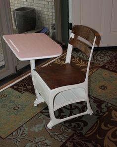 Kids school desk in old white and Antoinette Chalk Paint