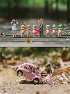 Better in Miniature: Pre-Wedding Photos by Ekkachai Saelow Adorable and unique pre-wedding engagement shoot idea where couples are turned into minatures in big