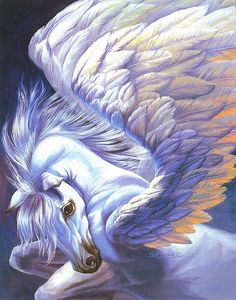 Pegasus: (Ancient Greek: Πήγασος, Pégasos, Latin Pegasus) is one of the best known mythological creatures in Greek mythology. He is a winged divine stallion usually depicted as pure white in color. He was sired by Poseidon, in his role as horse-god, and Unicorn Fantasy, Unicorn Art, Unicorn Poster, Unicorn Painting, Fantasy Kunst, Fantasy Art, Pegasus, Unicorn Wings, Unicornios Wallpaper