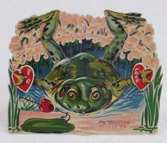 Mechanical Vintage Valentine, Frog, Stand Up