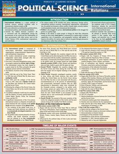 Political Science: Int'L Relations Laminated Study Guide - BarCharts Publishing Inc makers of QuickStudy Political Science Major, Social Science, College Courses, Education College, Education Degree, History Education, Teaching History, Education System, International Relations