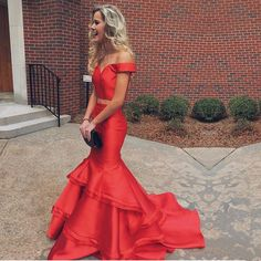 two piece prom dress,mermaid evening gowns,orange red prom